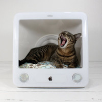 Upcycled Apple Computer Pet Bed by AtomicAttic on Etsy