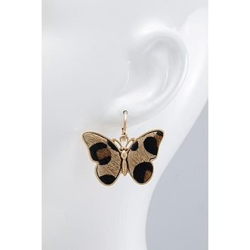 Faux Fur Butterfly Earrings