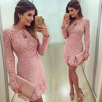 New Arrive Vestidos Women Fashion Casual Lace Dress 2016 O-Neck Sleeve Pink Evening Party Dresses Vestido de festa Brasil Trend