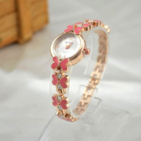 Women's Girl's Butterfly Decoration Rhinestone Bracelet Wrist Watch = 1706193284