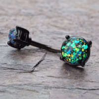 Black Belly Button Rings Black Opal Belly Button Rings Opal Belly Rings