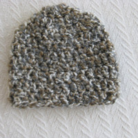 Crochet Baby Hat Gray and Brown Flecked 6 to 9 months