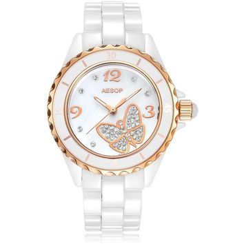 Gold Dial Butterfly Ceramic & Sapphire Watch