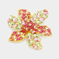 Marquise Glass Crystal Flower Pin Brooch