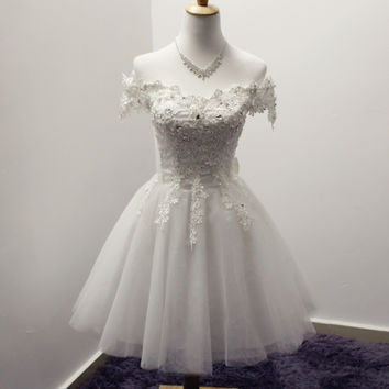 White Short Sleeve Homecoming Dress for Homecoming