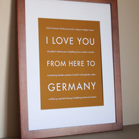 I Love You From Here To Germany Travel Art by HopSkipJumpPaper