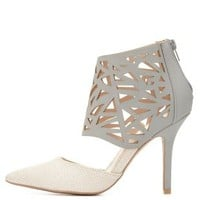 Qupid Laser Cut-Out Caged Pump by Charlotte Russe