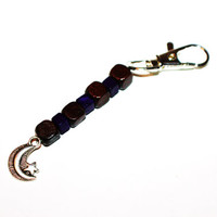 Wooden Beaded Keychain with Silver Moon and Star Charm