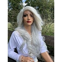 White Silver Gray Hair Lace Wig, Loose Curls Hair Style 919 18 EROS