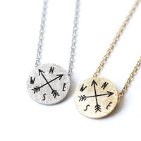 compass, compass necklace, engraved necklace, simple necklace, minimalist necklace, woman necklace, arrow necklace, arrow jewelry