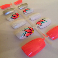 Coral Flower Nails, false, fake and artificial