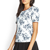 FOREVER 21 Pleated Rose Print Top Cream/Navy