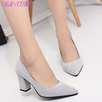 spring 2018 new women high heels elegant  lady plaza heel Leather shoes office pump woman pointed  single shoes