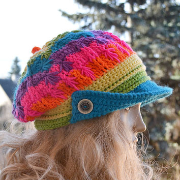 Crocheted PEAKED Cap beanie Slouchy Winter Fashion , very warm, rainbow, women slouchy hat,Girls Hat,unique gifts aut