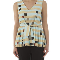 Fendi Stripes and Square Pleated Blouse