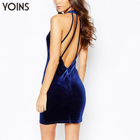 YOINS New 2016 Women Fashion Sleeveless Velvet Bodycon Slim Fit Dress Sexy Cut Out Halter Strap Backless Mini Dress