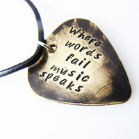 """Hand Stamped & Antiqued Copper Guitar Pick Necklace - """"Where words fail music speaks"""" key chain with name / date"""
