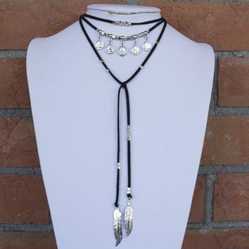 Silver Coin Beaded Lariat