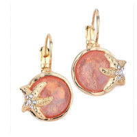 """Star Lite"" Crystal Accented Puffy Stone Coral Starfish Earrings"