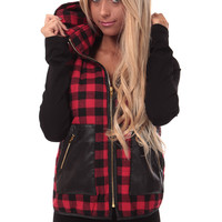 Red Plaid Hooded Vest
