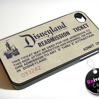 Vintage Retro Disneyland Ticket iPhone 4S Case Hard Plastic