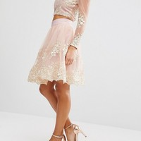 Chi Chi London Petite All Over Premium Embroidered Full Prom Midi Skirt Co-Ord at asos.com