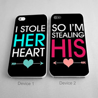 I Stole Her or His Heart Couples Phone Case iPhone 4/4S, 5/5S, 5C Series, iPhone 6, 6plus - Hard Plastic, Rubber Case