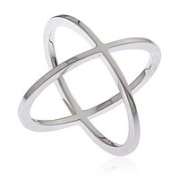 Ladies 925 Sterling Silver Criss Cross 'X' Ring