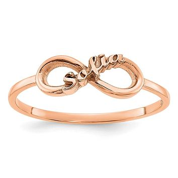 14K Rose Gold Personalized Infinity Name Ring