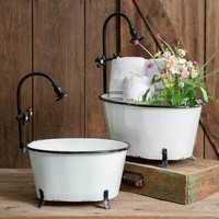 White Clawfoot Tub Planters Set of Two