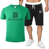GIVENCHY Summer Fashionable Casual Print T-Shirt Top Shorts Set Two-Piece Sportswear Green