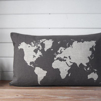 map pillow - linen pillow case with world map design -decorative throw pillow - gray lumbar pillow case - charcoal pillow case - gift