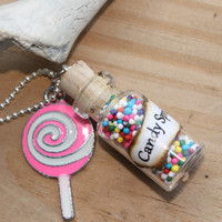 Super Sweet Sprinkle n Lollipop Charm Glass Vial Bottle Necklace By: Tranquilityy