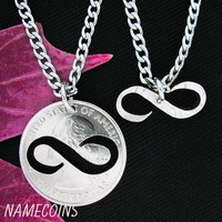 Infinity Necklace, Couples Jewelry, Special Quarter, hand cut coin