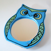 Vintage Owl Mirror Mod Style Blue and Green Wood Frame