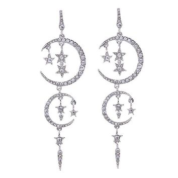 Luxury Crystal Star Moon Earrings