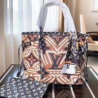 LV Fashion New Monogram Print Leather Shoulder Bag Handbag Two Piece Suit