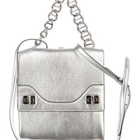 Prada Metallic Silver Leather Vitello Soft Chain Shoulder Bag B5095C