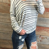 Striped V Neck Loose Top