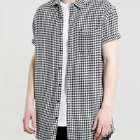 Black and white dogstooth long line short sleeve shirt- TOPMAN USA