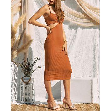 Celia Cut Out Ribbed Midi Dress in More Colors