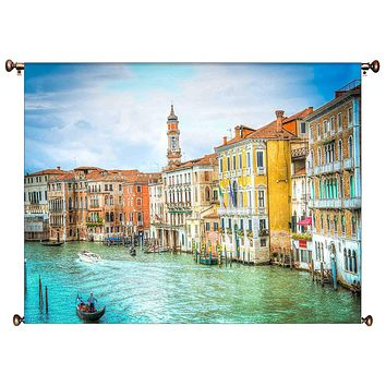 Canal Grande Venice Italy Picture on Canvas Hung on Copper Rod, Ready to Hang, Wall Art Décor