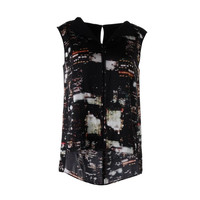 Lafayette 148 Womens Petites Silk Sleeveless Blouse