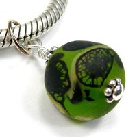 Etched Green Lampwork Glass Bead And Sterling Silver Charm Pendant | Covergirlbeads - Jewelry on ArtFire