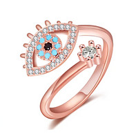 Adjustable Rose Gold with Cubic Zirconia Evil Eye Ring for Women
