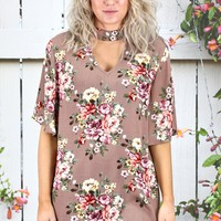 Beautiful in Florals Mock Neck Blouse {Taupe Mix}