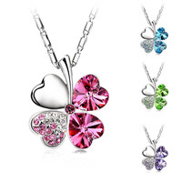 Valentine's Day Four Leaf Clover Crystals Pendant Necklace Silver Plated Chain New Fashion For Women