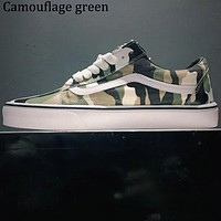 VANS classic casual camouflage canvas low cut skate shoes F0619-1 Camouflage green