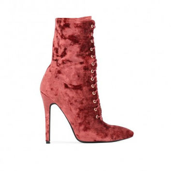 JULISSA CRUSHED VELVET LACE UP ANKLE BOOTS IN RUST