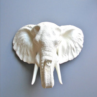 Faux Taxidermy Large Elephant Head Wall Hanging: Pinda the Elephant in white